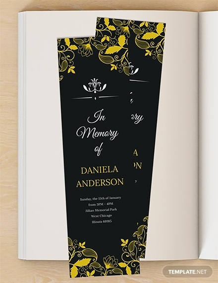 free memorial bookmark template 1x
