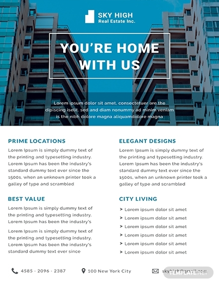 free real estate datasheet template 1x