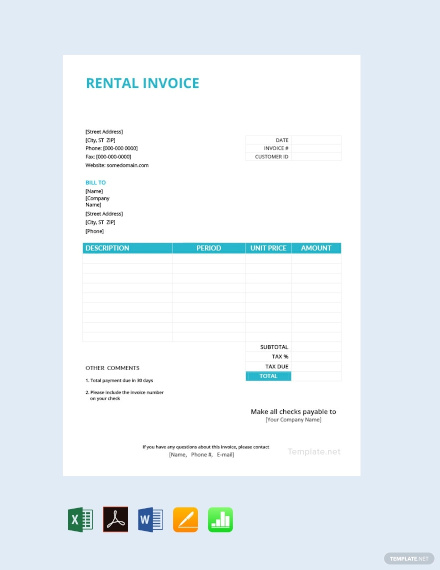 free rental invoice template