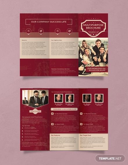 free retro multipurpose trifold brochure template 4