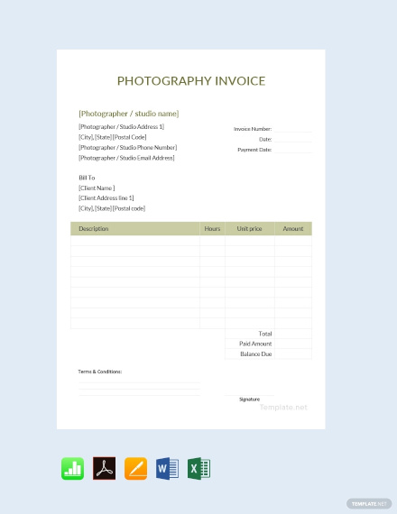 free sample photography invoice template