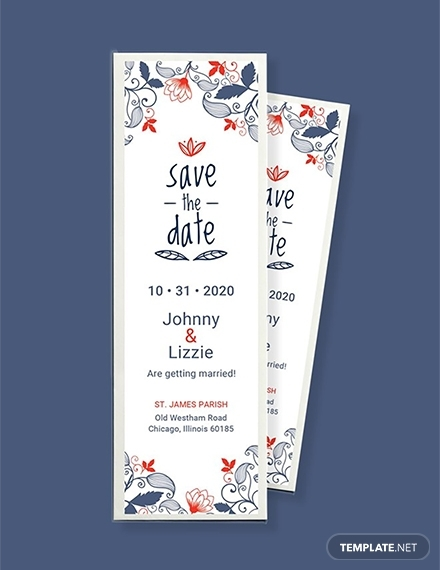 free save the date bookmark template 1x