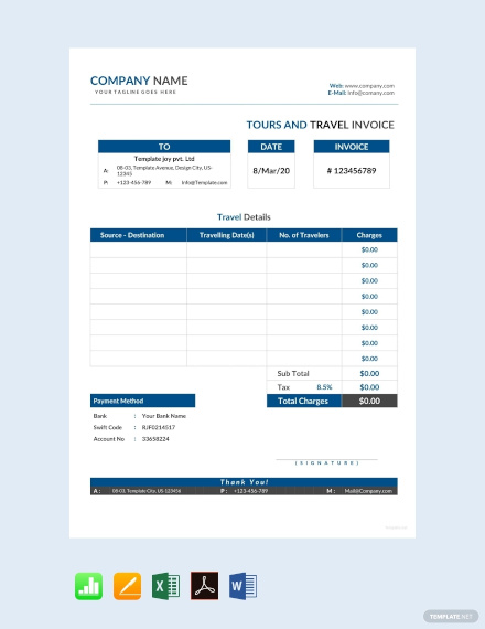 free tour and travel invoice template1