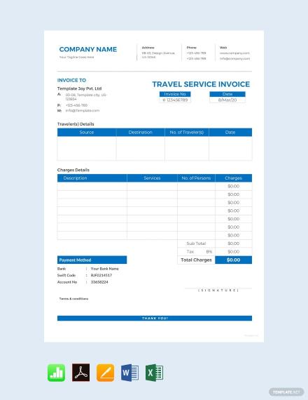 free travel service invoice template1