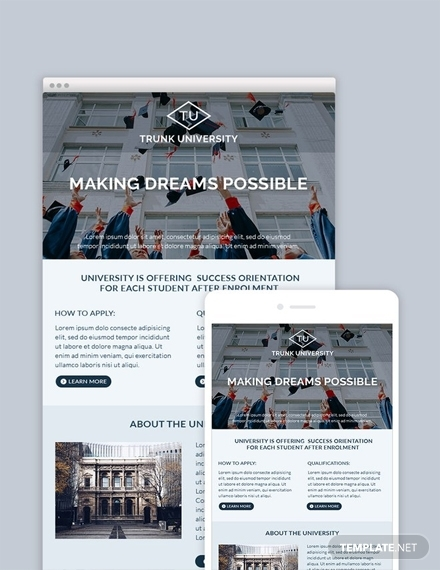 free universiy email newsletter template