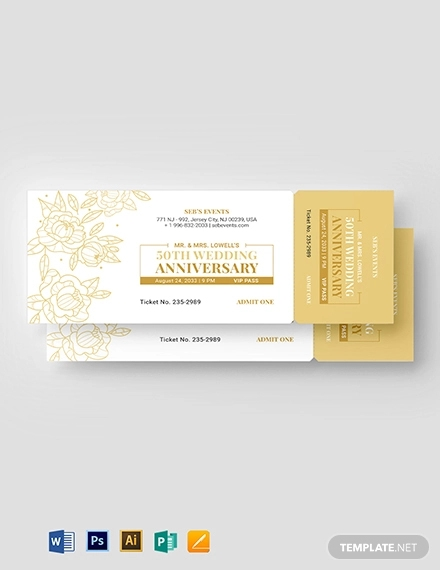 golden vip ticket template