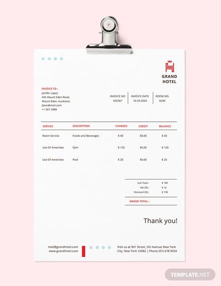 grand hotel invoice template