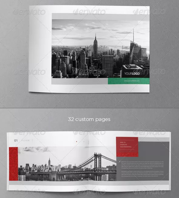 greyscale real estate brochure template