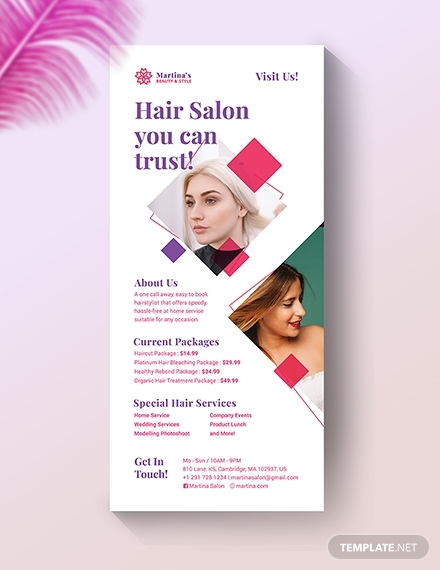 hair salon rack card