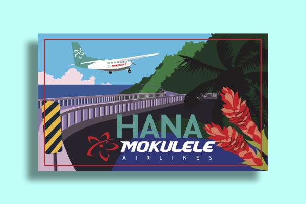 hana mokulele airlines postcard