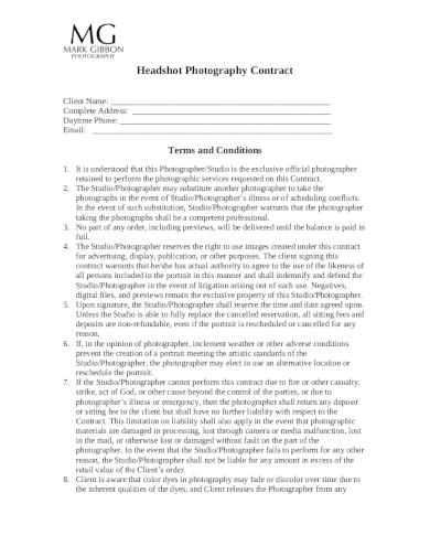 headshot photography contract