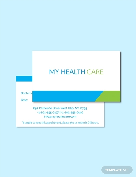 health care appointment card
