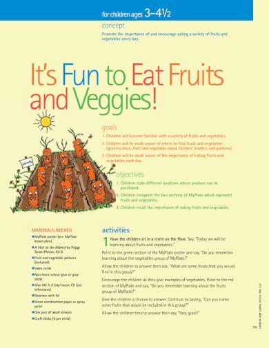 healthy eating kindergarten lesson