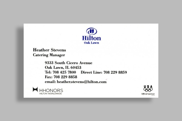 hilton oak lawn catering manager business card