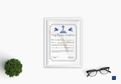 holy baptism certificate