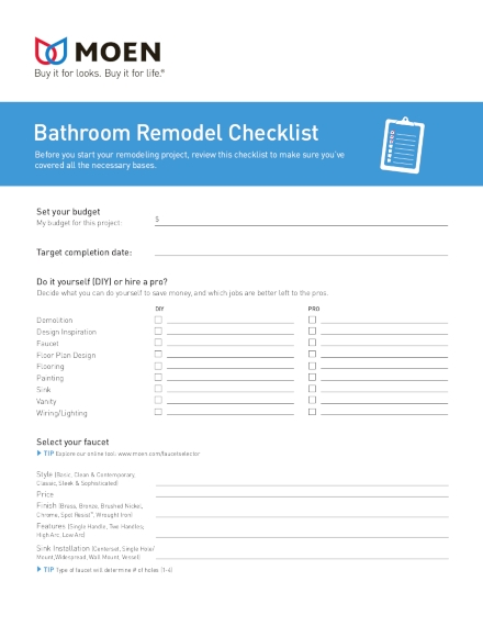 home bathroom remodeling checklist