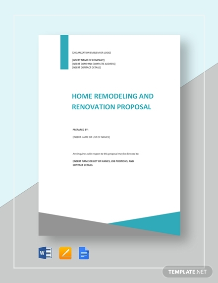 home remodeling and renovation proposal