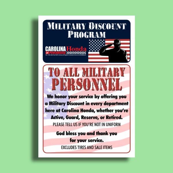 honda military discount program flyer