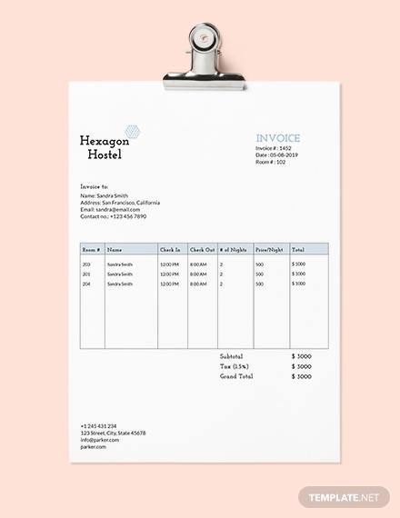 hostel invoice