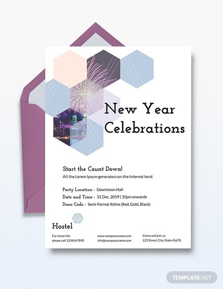 hostel new years celebration invitation