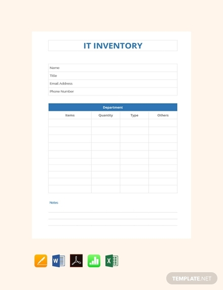 it inventory sheet template