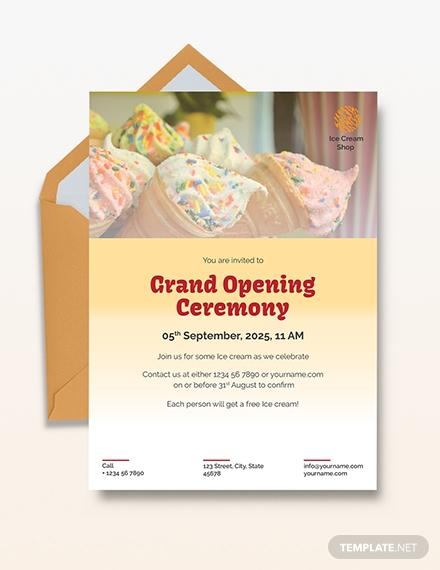 ice cream shop grand opening invitation