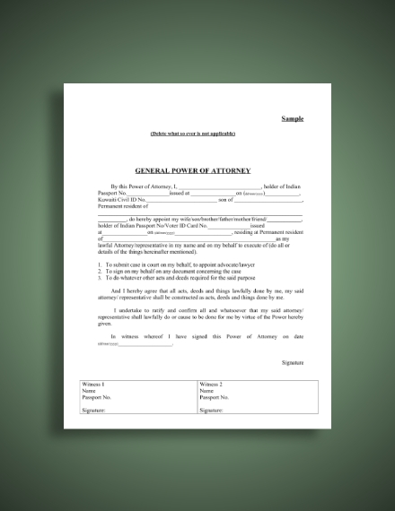 indian embassy general power of attorney