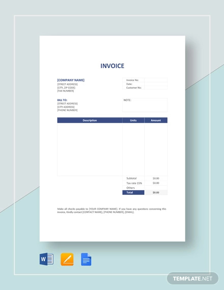 Free 27 Printable Invoice Examples In Google Docs Google Sheets Excel Word Numbers Pages Pdf Examples