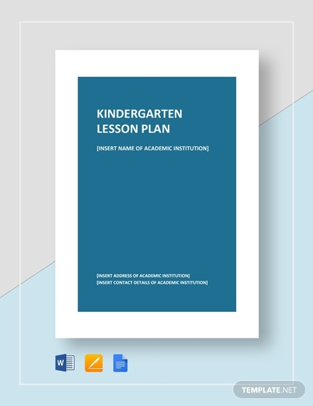 kindergarten lesson plan