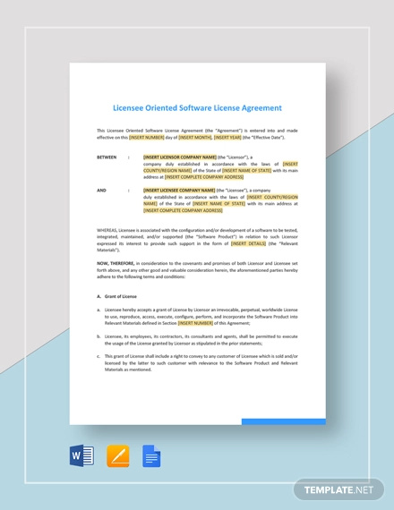 licensee oriented software license agreement template