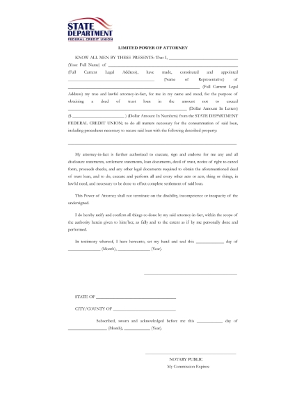 limited power of attorney for deed of trust loan