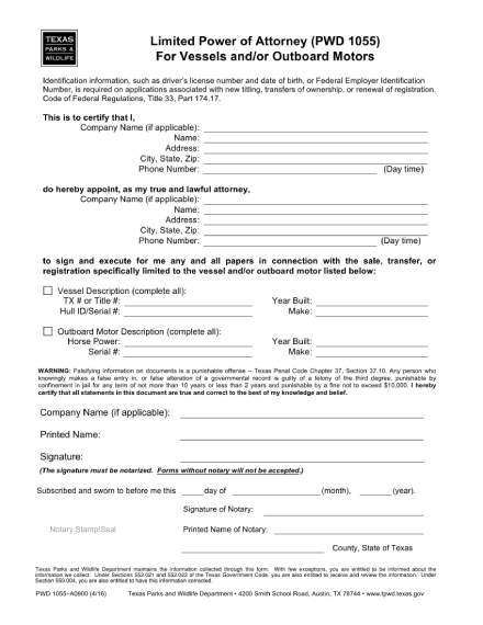 limited power of attorney for vessels and or outboard motors