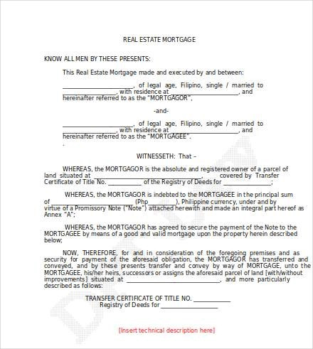 loan agreement with real estate mortgage