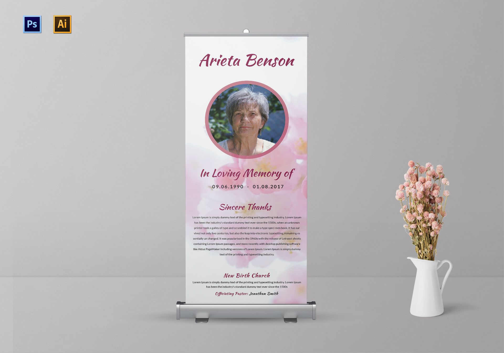 loving memory funeral roll up banner