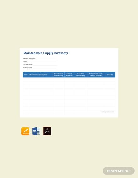 maintenance supply inventory