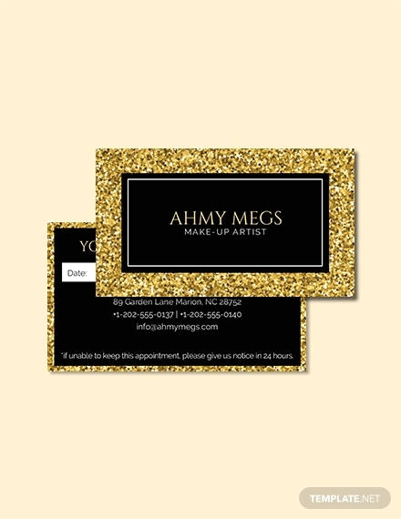 makeup artist appointment card