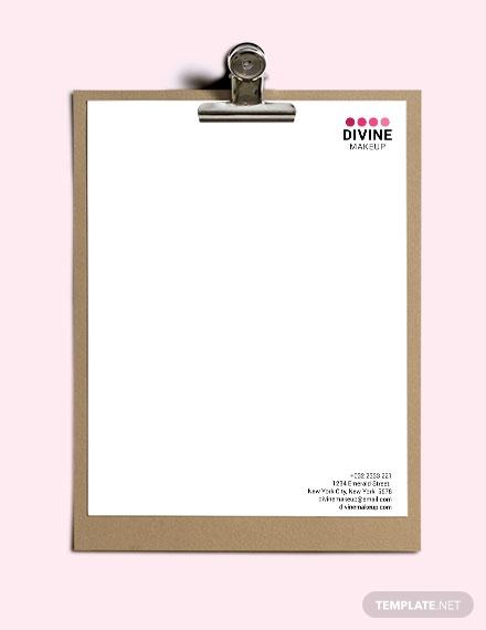 makeup artist letterhead