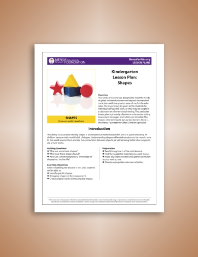 math lesson plan for shapes
