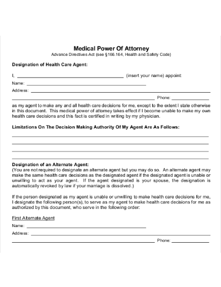 medical power of attorney letter