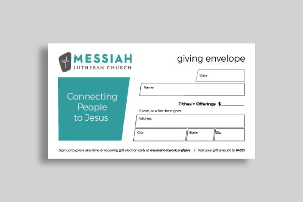 messiah lutheran church offering envelope