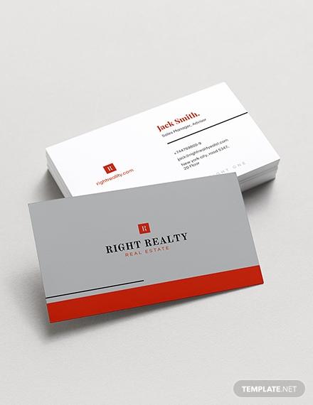 minimal real estate business card