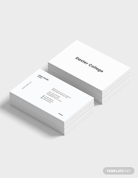 minimalist teacher business card