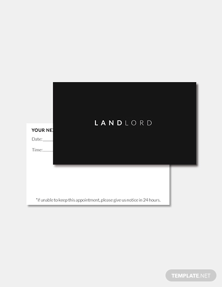 minimalistic landlord appointment card