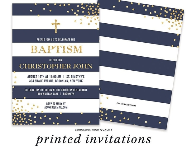 navy blue baptism invitation