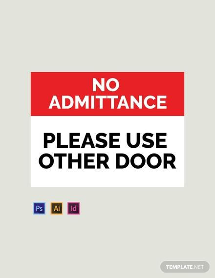 no admittance door sign