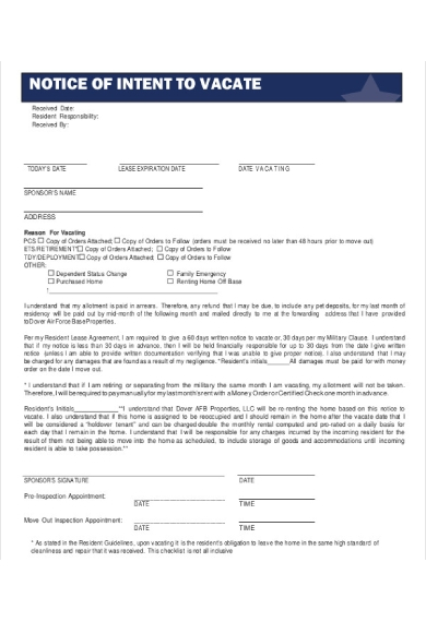 notice of intent to vacate form