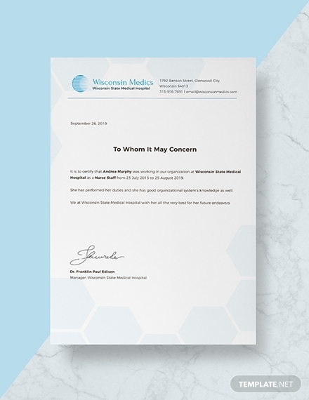 nursing experience certificate