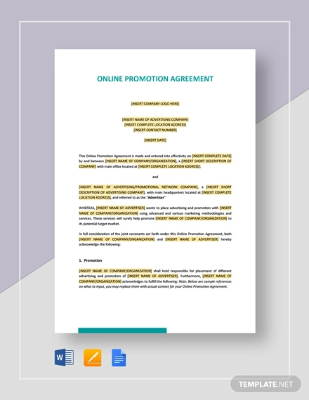 online promotion agreement template