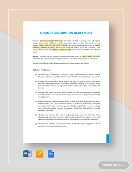 online subscription agreement template