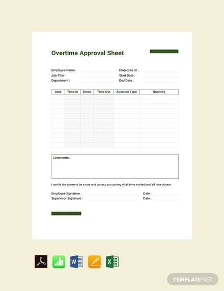 overtime approval sheet